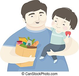 Kid Boy Father Healthy Grocery Illustration