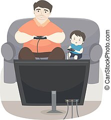 Kid Boy Father Play Video Games Illustration