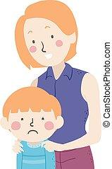 Kid Boy Feel Sad Mom Illustration