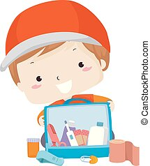 Kid Boy First Aid Kit Rescue Illustration