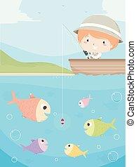 Kid Boy Fishing Boat Illustration