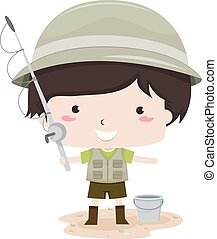 Kid Boy Fishing Suit Illustration