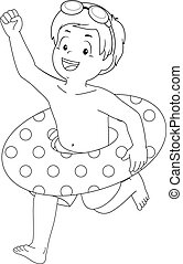 Kid Boy Flotation Coloring Page - Coloring Page Illustration...