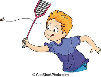 Illustration of a Little Boy Swatting a Fly