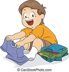Kid Boy Folding Shirts - Illustration of Kid Boy Folding...