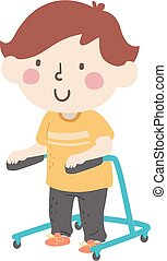 Illustration of a Kid Boy Holding on to a Gait Trainer with Wheels for Gait Therapy