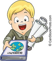 Kid Boy Geography Book Maps Illustration