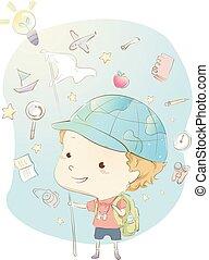 Kid Boy Geography Ideas Illustration