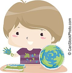 Kid Boy German Day Care Earth Crafts Illustration