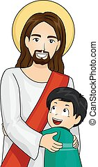 Kid Boy Give Hug Jesus Christ - Illustration of Jesus Christ...