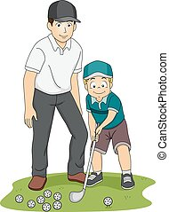 Kid Boy Golf Coach - Illustration of a Kid Receiving Golf...