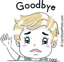 Kid Boy Goodbye Wave Sad