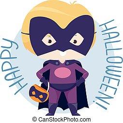 Kid Boy Halloween Super Hero Costume Illustration - ...