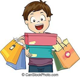 Kid Boy Happy Shopping Illustration