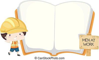Kid Boy Hard Hat Open Book Illustration