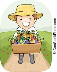 Kid Boy Harvest - Illustration of a Boy Carrying a Wooden...