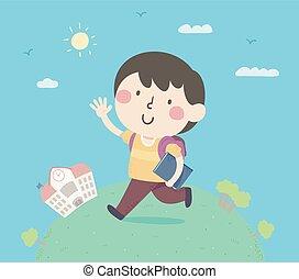 Kid Boy Hello Walk School Illustration