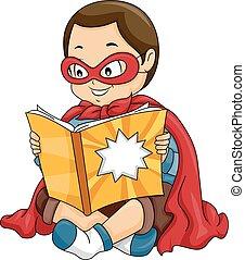 Kid Boy Hero Reading Comic Book