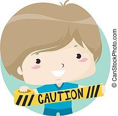 Kid Boy Hold Caution Tape Illustration