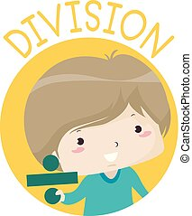 Kid Boy Hold Division Sign Illustration