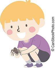 Kid Boy Hold Tarantula Illustration - Illustration of a Kid ...