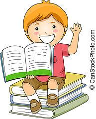 Kid Boy Holding Book