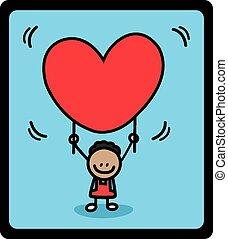kid boy holding love banner
