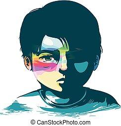 Kid Boy Hope in Misery Illustration