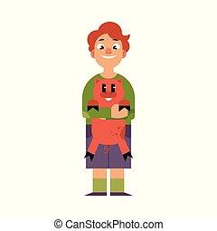 Kid boy hugging cute pig - flat cartoon character of caucasian smiling child embracing domestic rural animal.