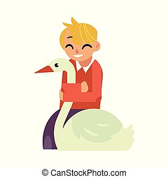 Kid boy hugging white goose - flat cartoon character of caucasian smiling child embracing domestic rural bird.