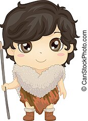 Illustration of a Kid Boy Wearing Ice Age Tribe Costume and Stick