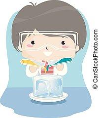 Kid Boy Ice Experiment Illustration