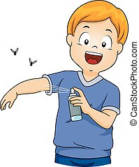 Illustration of a Little Boy Spraying Insect Repellent on Himself