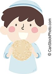 Kid Boy Jewish Eating Matzah Illustration - Illustration of ...