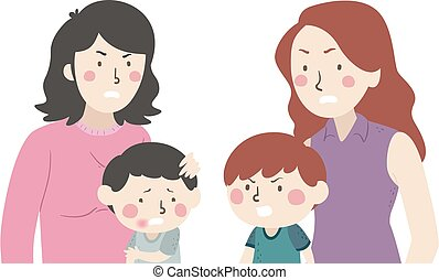 Kid Boy Kids Fight Mom Illustration