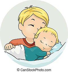 Kid Boy Kiss Baby Sibling Illustration