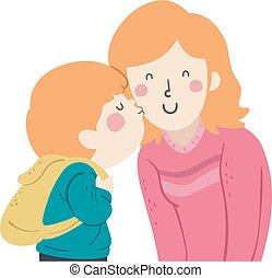 Kid Boy Kiss Mom Cheek Illustration