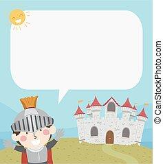 Kid Boy Knight Castle Speech Bubble Illustration
