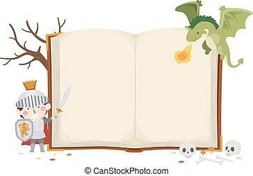 Kid Boy Knight Dragon Open Book Illustration