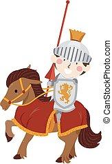 Kid Boy Knight Horse Jousting Illustration