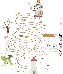 Kid Boy Knight To Tower Maze Illustration