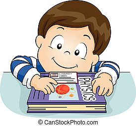 Kid Boy Library Card Physics Book Illustration