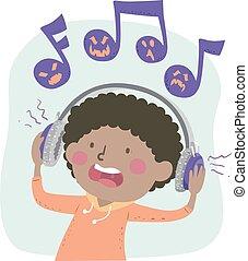 Kid Boy Listen Music Scary Illustration