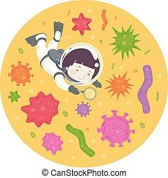 Kid Boy Magnifying Glass Organisms Illustration