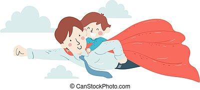 Kid Boy Man Dad Superhero Fly Illustration - Illustration of...