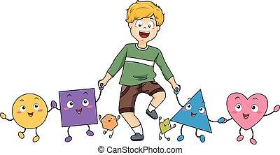 Kid Boy Mascot Shapes Friends Illustration