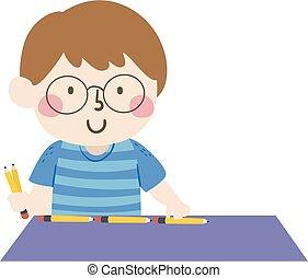 Kid Boy Measure Table Pencil Illustration
