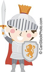 Kid Boy Medieval Knight Illustration