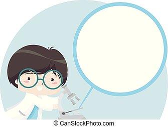 Kid Boy Microscope Zoom In Illustration