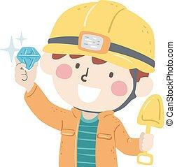 Kid Boy Mining Diamond Illustration